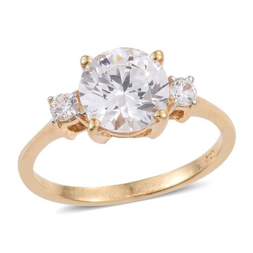 J Francis - 14K Gold Overlay Sterling Silver (Rnd) 3 Stone Ring Made with SWAROVSKI ZIRCONIA