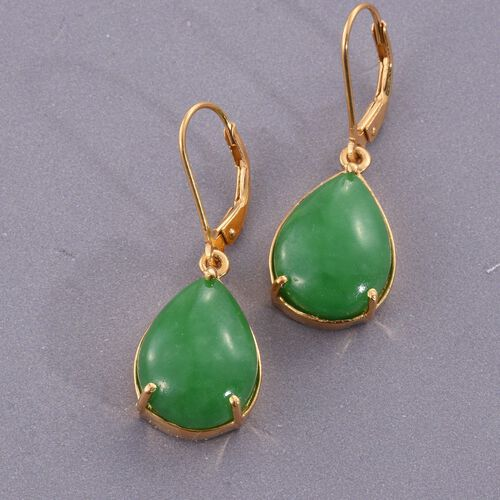 Green Jade (Pear) Lever Back Earrings in 14K Gold Overlay Sterling Silver 19.000 Ct.