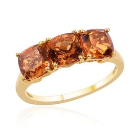 Madeira Citrine (Cush) Trilogy Ring in 14K Gold Overlay Sterling Silver 2.500 Ct.