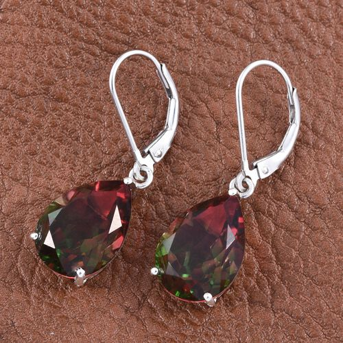 Bi-Color Tourmaline Quartz (Pear) Lever Back Earrings in Platinum Overlay Sterling Silver 11.750 Ct.
