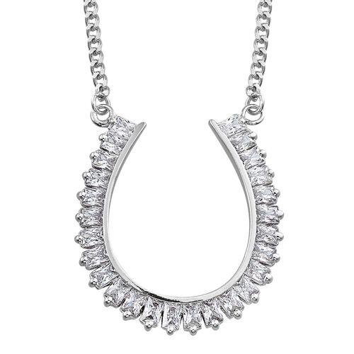 J Francis - Platinum Overlay Sterling Silver (Bgt) Horseshoe Pendant With Chain Made with SWAROVSKI ZIRCONIA