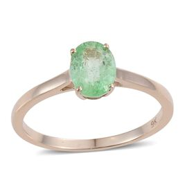 9K Y Gold Boyaca Colombian Emerald (Ovl 1.05 Ct) Solitaire Ring 1.050 Ct.