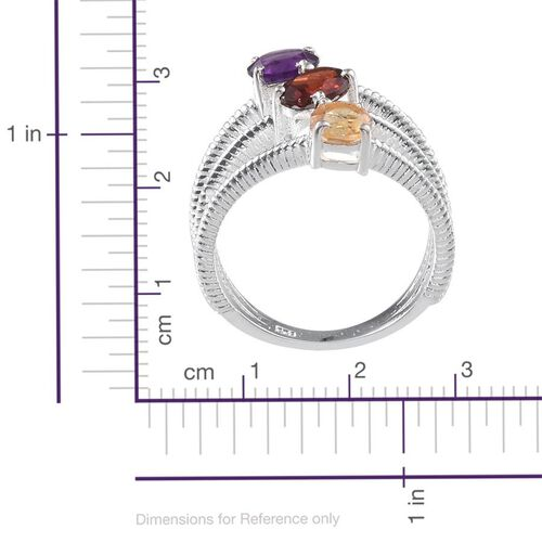 Mozambique Garnet (Ovl 1.00 Ct), Amethyst and Citrine Ring in Sterling Silver 2.250 Ct.