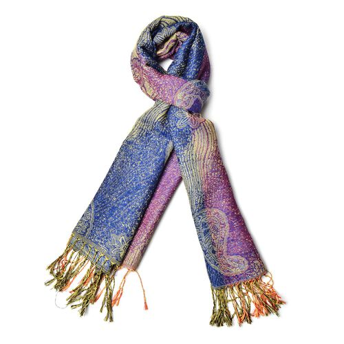 Paisley and Water Wave Pattern Dark Purple and Dark Blue Colour Scarf (Size 170x70 Cm)