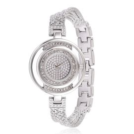 STRADA Japanese Movement Stardust Dial with White Austrian Crystal Water Resistant Watch in Silver Tone with Stainless Steel Back and Chain Strap