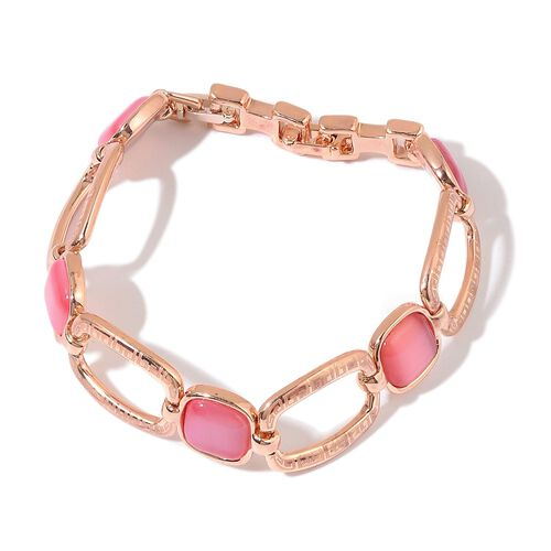 Simulated Pink Cats Eye Bracelet (Size 7) in Rose Gold Tone