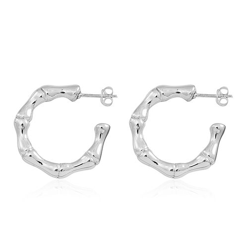 Statement Collection Sterling Silver Hoop Earrings (with Push Back), Silver wt 5.61 Gms.
