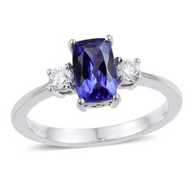 RHAPSODY 950 Platinum 1.40 Carat AAAA Tanzanite Cushion Solitaire Ring with Diamond VS E-F.
