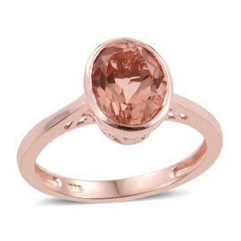 Galileia Blush Pink Quartz (Ovl) Solitaire Ring in Rose Gold Overlay Sterling Silver 2.750 Ct.