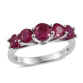 RHAPSODY 950 Platinum AAAAA Burmese Ruby (Rnd), Diamond (VS/E-F) Ring 2.000 Ct. Platinum Wt 4.75 Gms.