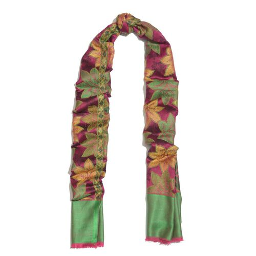 100% Superfine Modal Multi Colour Leaves Pattern Pink and Green Colour Jacquard Scarf (Size 190x70 Cm)