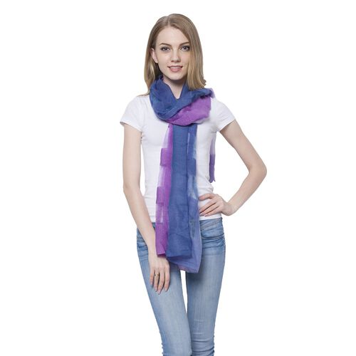 20% Wool Purple and Dark Blue Colour Transparent Checks Pattern Scarf (Size 180x60 Cm)