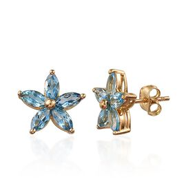 Electric Swiss Blue Topaz (Mrq) Floral Stud Earrings (with Push Back) in 14K Gold Overlay Sterling Silver 2.750 Ct.
