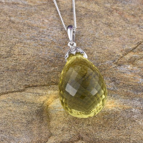 Natural Ouro Verde Quartz Pendant With Chain in Platinum Overlay Sterling Silver 29.000 Ct.