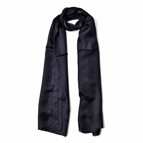 100% Mulberry Silk Black Colour Scarf (Size 180x110 Cm)