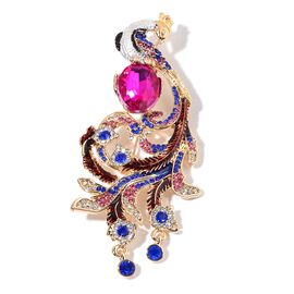Designer Inspired AAA Multi Colour Austrian Crystal Simulated Diamond Peacock Brooch in Gold Tone