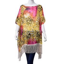 Leopard Pattern Fuchsia and Yellow Colour Poncho with Tassels (Free Size)