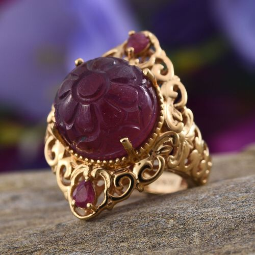 Stefy African Ruby (Rnd 18.85 Ct), Pink Sapphire Ring in 14K Gold Overlay Sterling Silver 19.270 Ct.