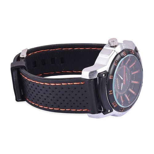 STRADA Japanese Movement Black and Orange Dial Water Resistant Watch in Silver Tone with Stainless Back and Black Silicone Strap