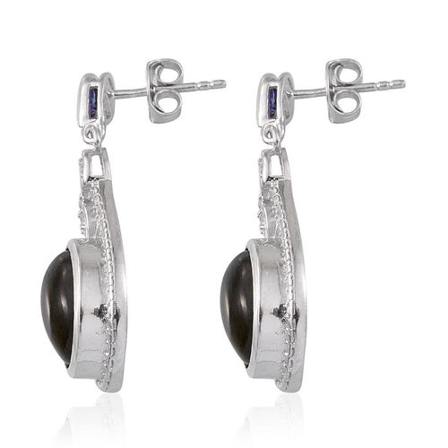 Labradorite (Ovl), Tanzanite and White Topaz Earrings (with Push Back) in Platinum Overlay Sterling Silver 8.500 Ct.
