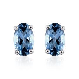 ILIANA 18K W Gold AAA Santa Maria Aquamarine (Ovl) Stud Earrings (with Screw Back) 0.500 Ct.