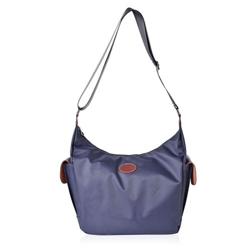 Dark Grey Colour Crossbody Bag with External Pocket and Adjustable Shoulder Strap (Size 38x27x24x13 Cm)
