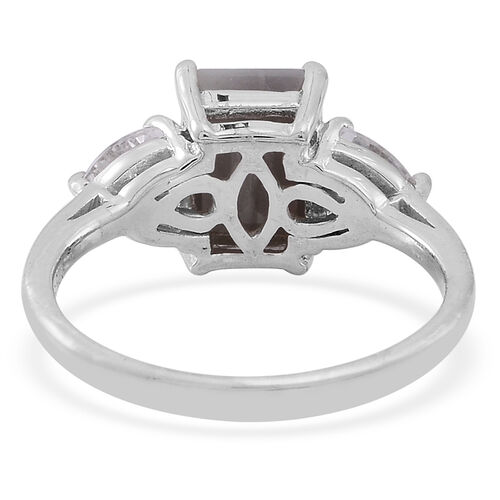 Natural Silver Sapphire (Oct 3.50 Ct), White Topaz Ring in Rhodium Plated Sterling Silver 5.500 Ct.