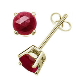 AA Burmese Ruby (Rnd) Stud Earrings (with Push Back) 18K Gold Overlay Sterling Silver 1.250 Ct.