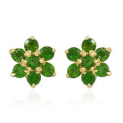 Russian Diopside (Rnd) Floral Stud Earrings (with Push Back) in 14K Gold Overlay Sterling Silver 1.250 Ct.