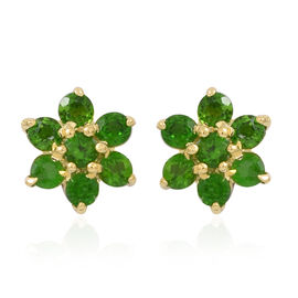 AAA Russian Diopside (Rnd) Floral Stud Earrings (with Push Back) in 14K Gold Overlay Sterling Silver 1.250 Ct.