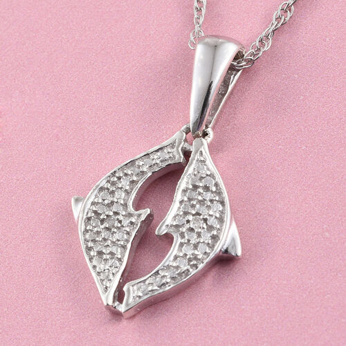 Diamond (Rnd) Twin Dolphin Pendant with Chain in Platinum Overlay Sterling Silver