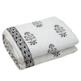 Cotton and Fibre Black Colour Tree Printed White Colour Quilt (Size 274x223 Cm)