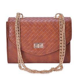 Chocolate Colour Diamond Pattern Handbag with Chain Strap (Size 22x15x9.5 Cm)