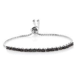 Black Diamond (Rnd) Adjustable Bracelet (Size 6.5 to 8) in Platinum Overlay Sterling Silver 1.050 Ct.