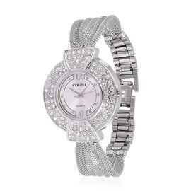 STRADA Japanese Movement Sunshine Pattern Dial with White Austrian Crystal Studded Water Resistant Watch in Silver Tone with Stainless Steel Back