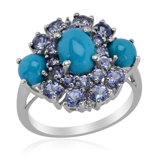 Arizona Sleeping Beauty Turquoise (Ovl 1.00 Ct), Tanzanite Ring in Platinum Overlay Sterling Silver  3.250 Ct.