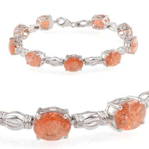 Tanzanian Sun Stone (Ovl), Diamond Bracelet in Platinum Overlay Sterling Silver (Size 7.5) 20.800 Ct.