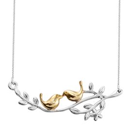 Bird Couple on Olive Branch Silver Necklace in 2 Tone Platinum and Gold Overlay