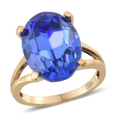 Crystal from Swarovski - Sapphire Colour Crystal (Ovl) Solitaire Ring in ION Plated 18K Yellow Gold Bond 10.500 Ct.