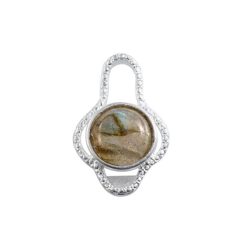 Labradorite (Rnd) Solitaire Pendant in Sterling Silver 4.000 Ct.