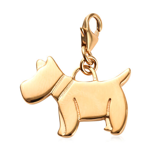 14K Gold Overlay Sterling Silver Scottish Terrier Dog Charm, Silver wt 3.69 Gms.