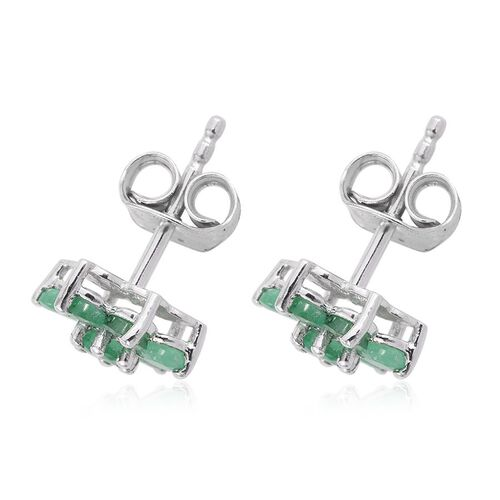 Kagem Zambian Emerald (Rnd) Floral Stud Earrings (with Push Back) in Platinum Overlay Sterling Silver 1.000 Ct.