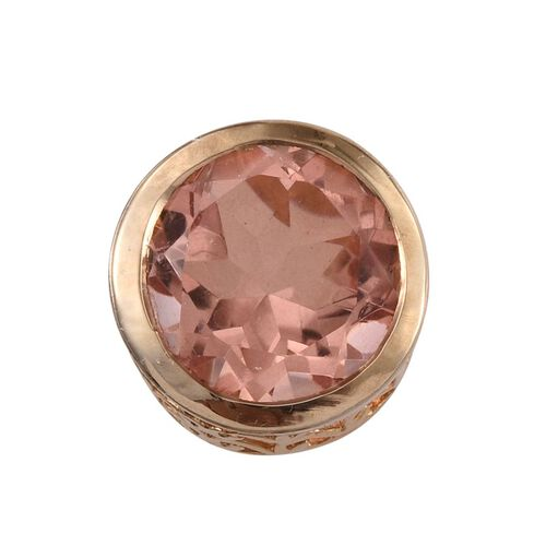 Morganite Colour Quartz (Rnd) Solitaire Pendant in 14K Gold Overlay Sterling Silver 5.000 Ct.