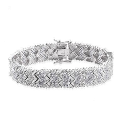 Diamond (Rnd) Bracelet (Size 7) in Platinum Overlay Sterling Silver 1.75 Ct. Total Silver Wt 24.00 Gms