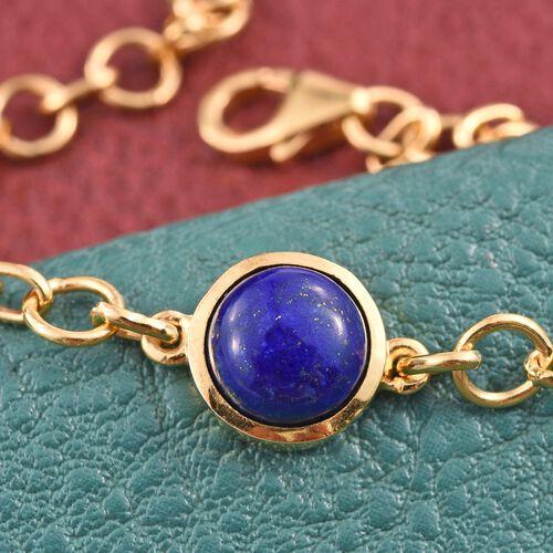 Lapis Lazuli (Rnd) Bracelet (Size 7.5) in 14K Gold Overlay Sterling Silver 3.000 Ct.