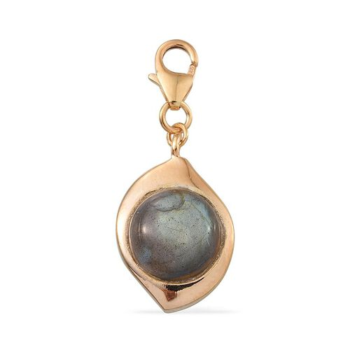 Labradorite (Rnd) Key Chain in 14K Gold Overlay Sterling Silver 4.250 Ct.
