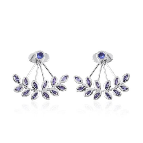 Tanzanite (Rnd) Jacket Earrings (with Push Back) in Platinum Overlay Sterling Silver 2.250 Ct.