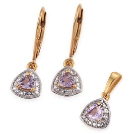 Rose De France Amethyst 0.65 Carat Trillion Pendant and Earrings Silver Set in Gold Overlay with Diamonds