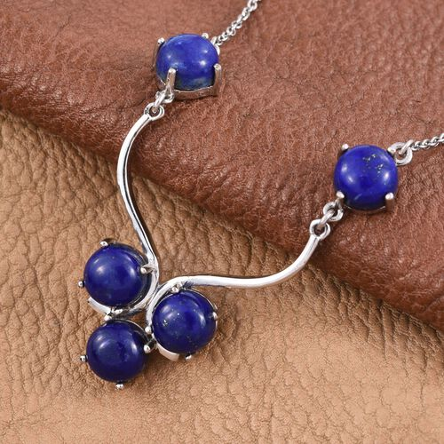 Lapis Lazuli (Rnd) Necklace (Size 18) in ION Plated Platinum Bond with Stainless Steel 12.000 Ct.