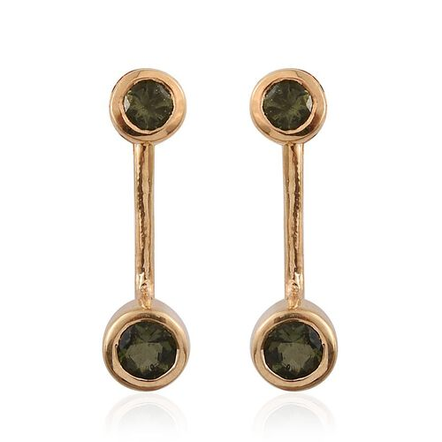 Bohemian Moldavite (Rnd) Earrings (with Push Back) in 14K Gold Overlay Sterling Silver 0.750 Ct.